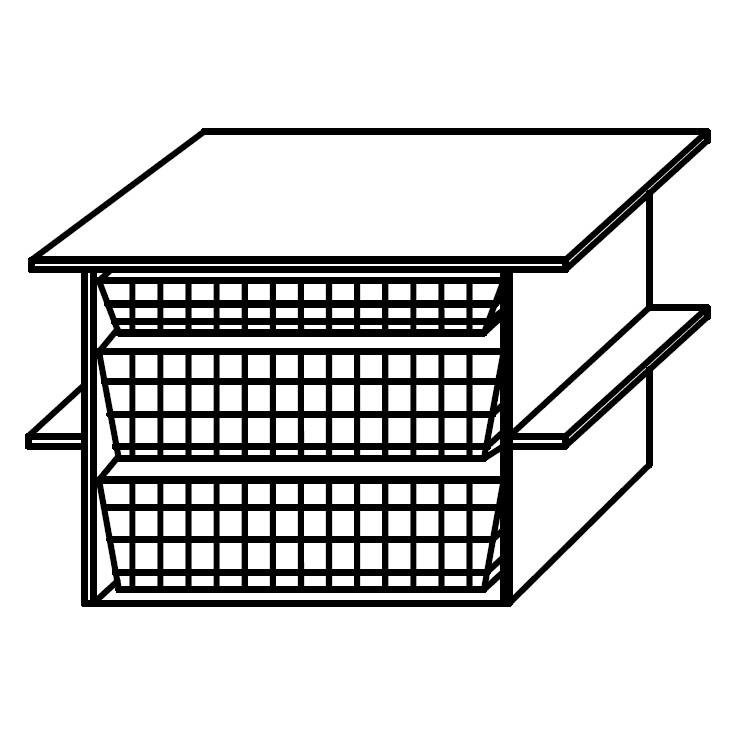 90er Drahtkorbeinsatz (3 Körbe) - für Schranktiefe 60/69cm