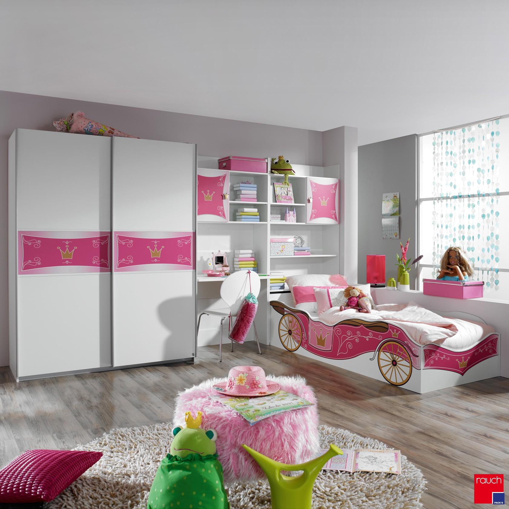 Kinderzimmerset Kate Prinzessinnen (4-teilig) – Schwebetürenschrank, Bett & Regalwand – Alpinweiß/Rosa, Rauch Pack´s bestellen