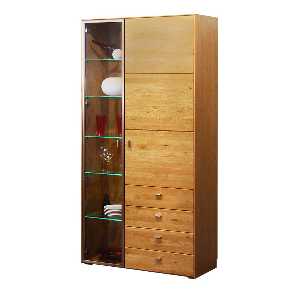 vitrine redwood wildeiche mit 4 schubladen schrank. Black Bedroom Furniture Sets. Home Design Ideas