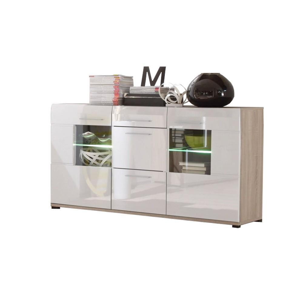 sideboard relax inkl beleuchtung wei hochglanz eiche s gerau hell dekor. Black Bedroom Furniture Sets. Home Design Ideas