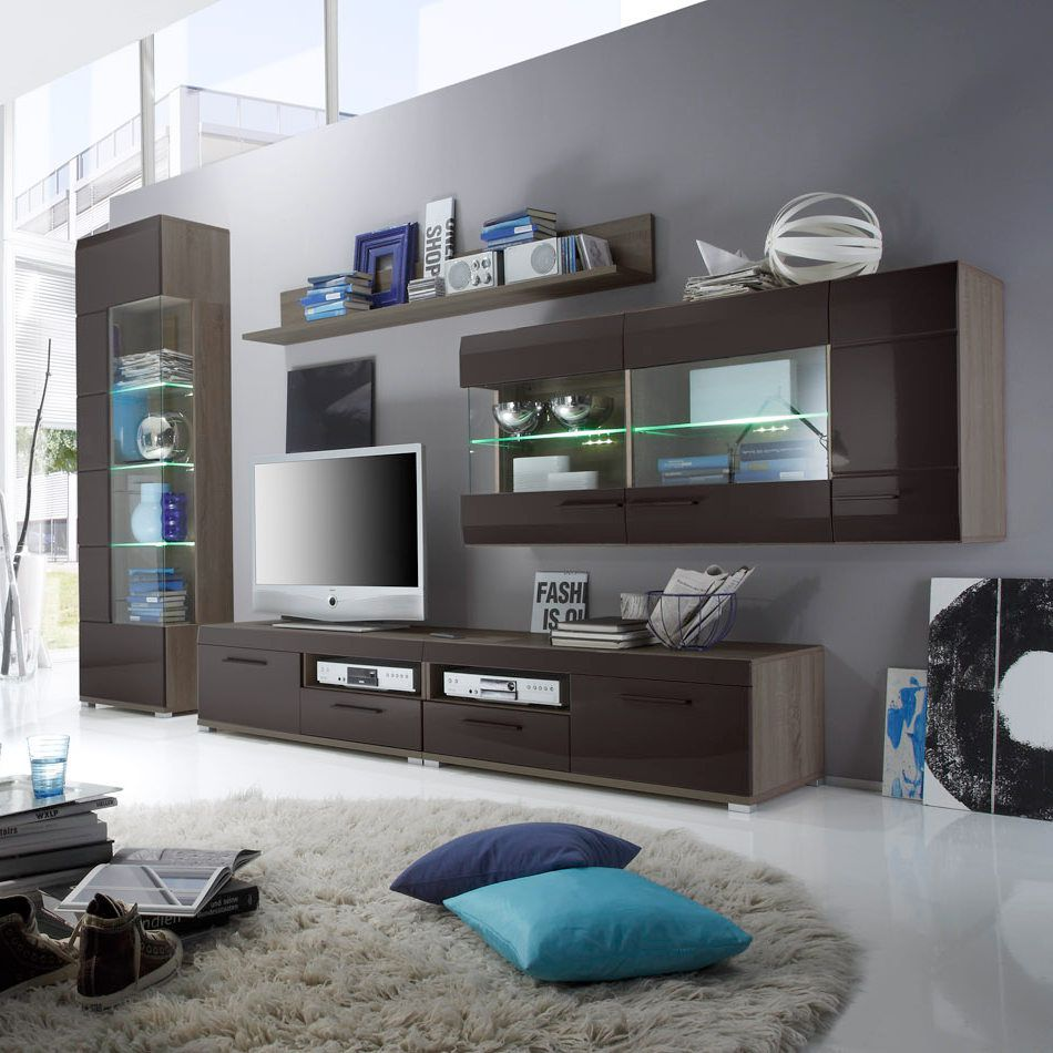 wohnwand relax 5 teilig inkl beleuchtung schlamm hochglanz eiche s gerau dunkel dekor. Black Bedroom Furniture Sets. Home Design Ideas