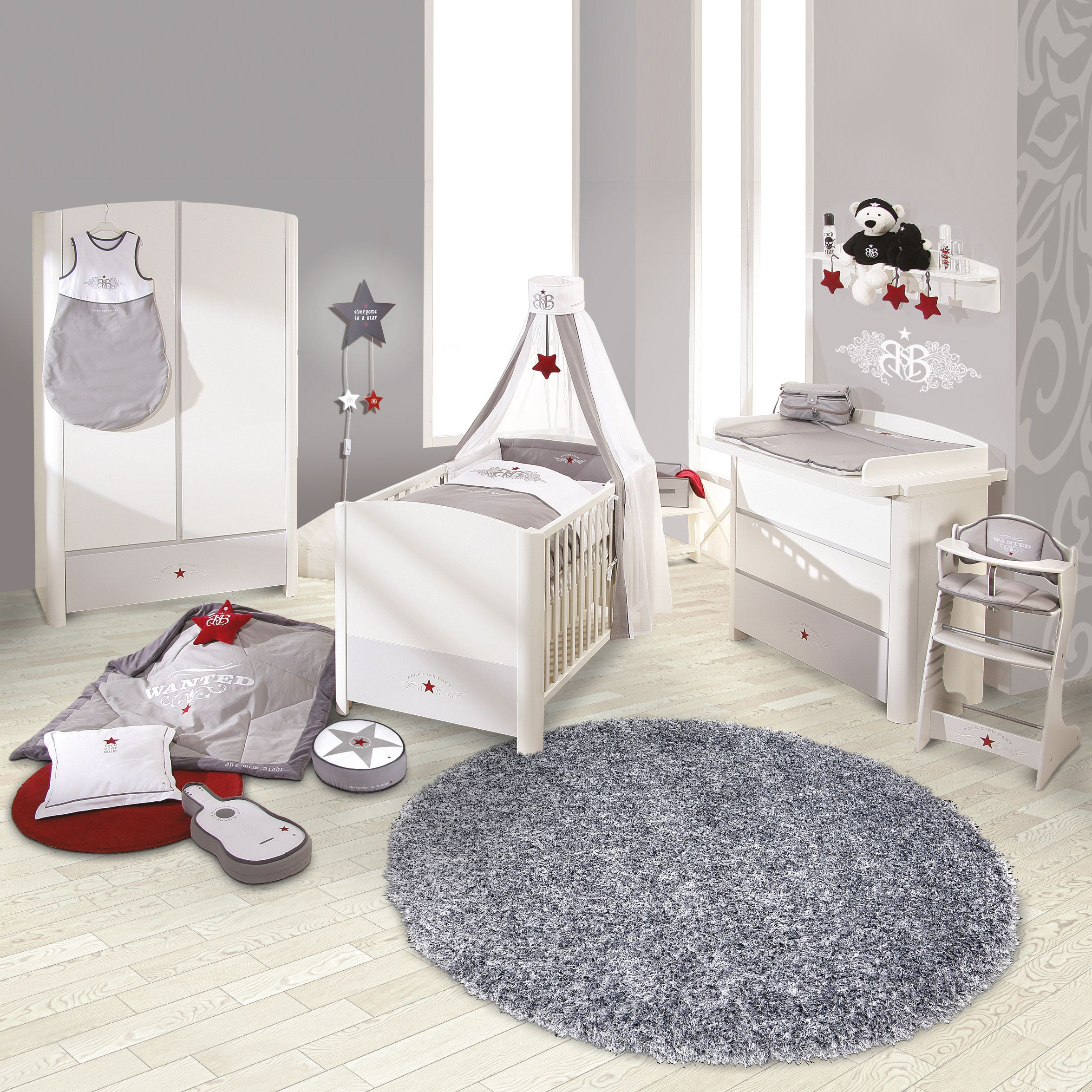 Komplettset Rock Star (3-teilig) - Babybett, Wickelkommode & Kleiderschrank - Weiß/Grau, Roba