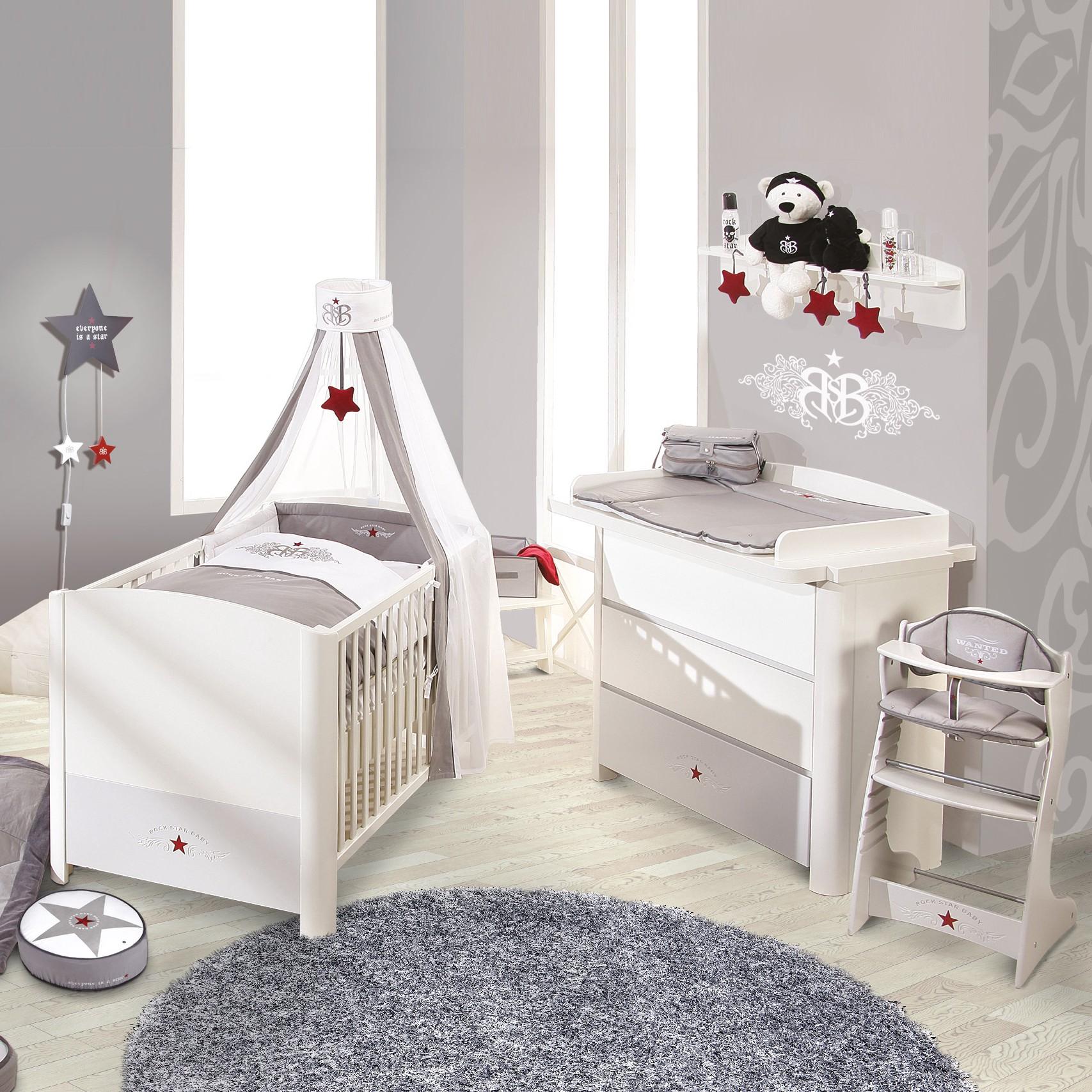 Sparset Rock Star (2-teilig) – Babybett & Wickelkommode – Weiß/Grau, Roba günstig kaufen