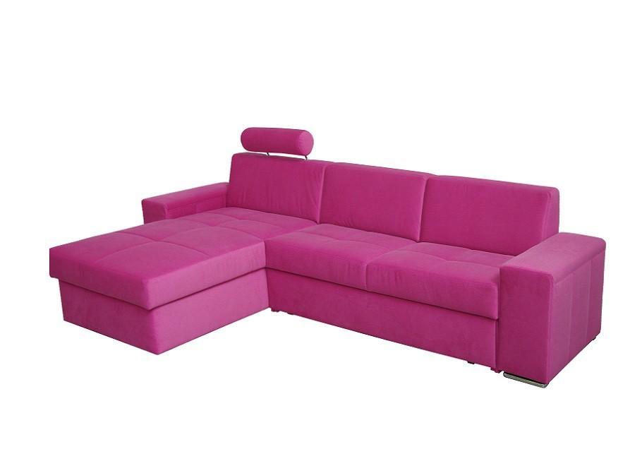Ecksofa Perpignan – Strukturstoff Pink – Longchair davorstehend rechts – mit Schlaffunktion/Bettkasten, Home Design bestellen