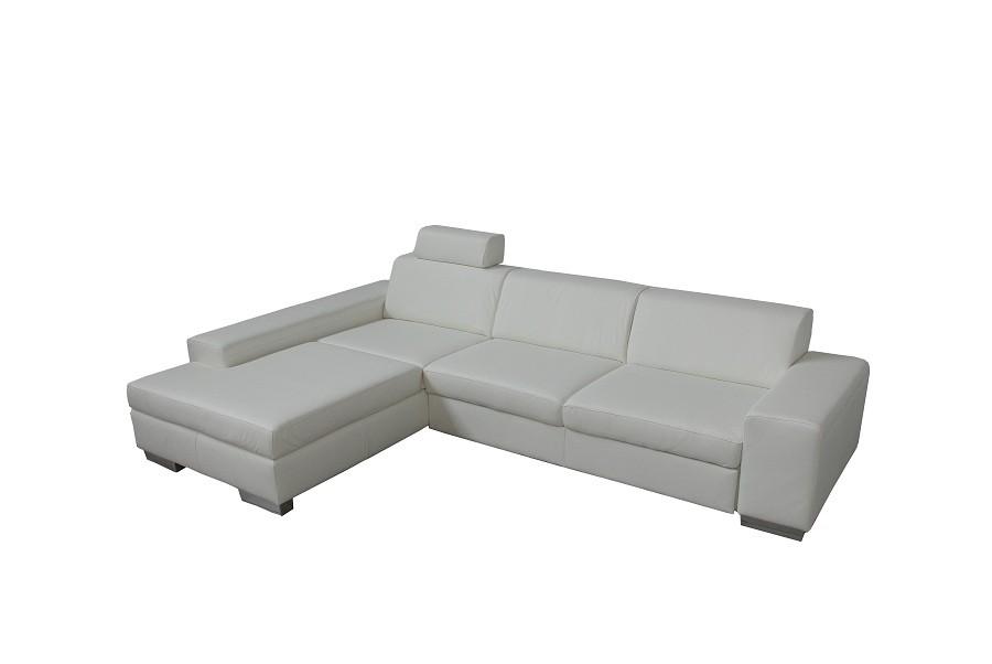 Ecksofa Toulon – Kunstleder Weiß – Longchair davorstehend rechts – mit Schlaffunktion/Nackenstütze, Home Design jetzt kaufen