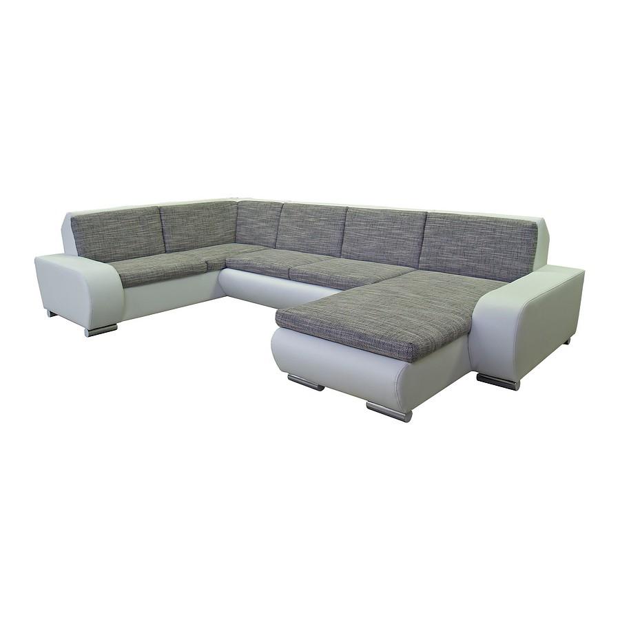 Polsterecke Barinas – Weiß/Grau – Recamiere links, 2,5-Sitzer rechts mit Schlaffunktion, Home Design online kaufen