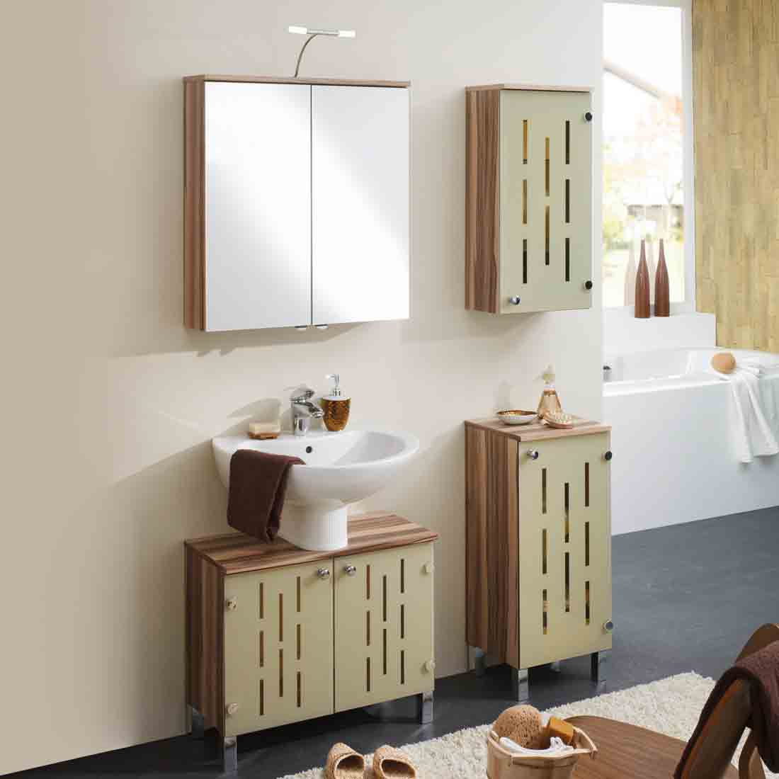 Badezimmerset Sarnia – Walnuss Dekor/Vanille – 4er-Set, Aqua Suite online bestellen