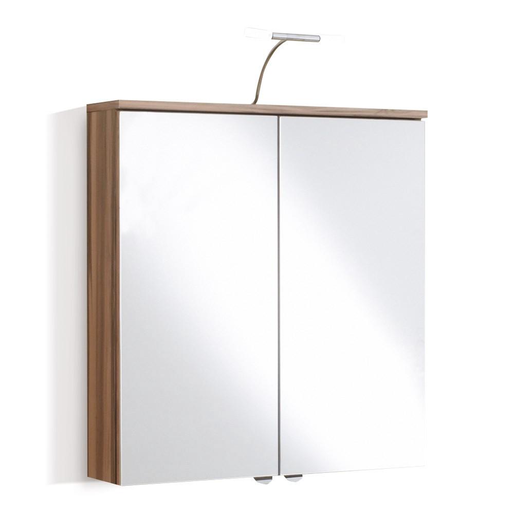 Spiegelschrank Sarnia - inklusive Beleuchtung - Walnuss Dekor