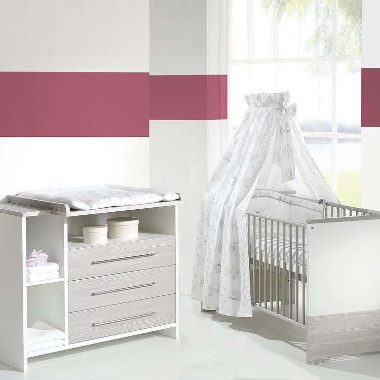 Babyzimmer Eco Silber (2-teilig) - Weiß/ Pinie-Silber Dekor, Schardt