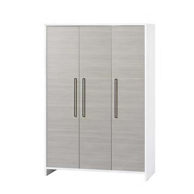 Kleiderschrank Eco Stripe - Weiß/Pinie Silber Dekor - 126 cm (3-türig), Schardt