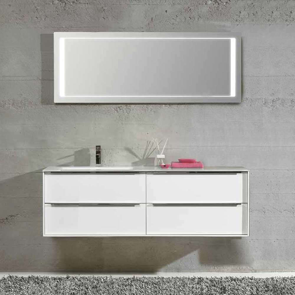 Waschplatz Sense 15 - weiß Hochglanz mit Glasbecken links