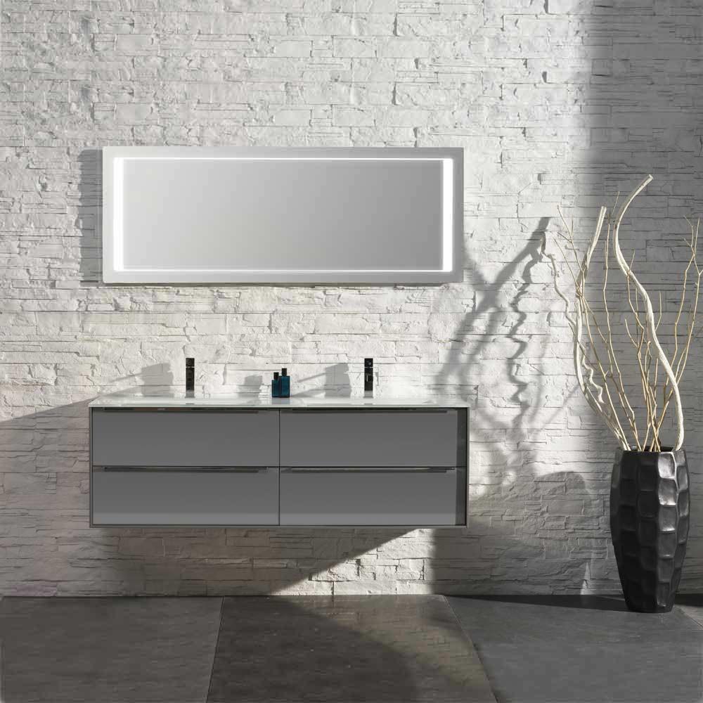 Waschplatz Sense 21 - grau Hochglanz mit Doppelglasbecken weiß