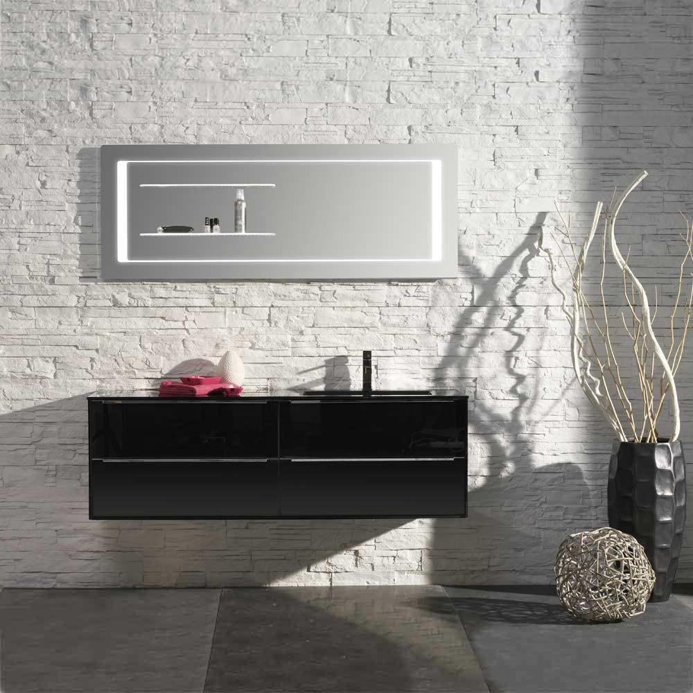 Waschplatz Sense 32 – schwarz Hochglanz mit Glasbecken rechts