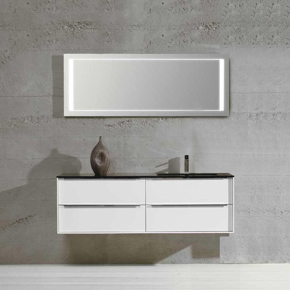 Waschplatz Sense 5 - weiß Hochglanz mit schwarzem Glasbecken rechts