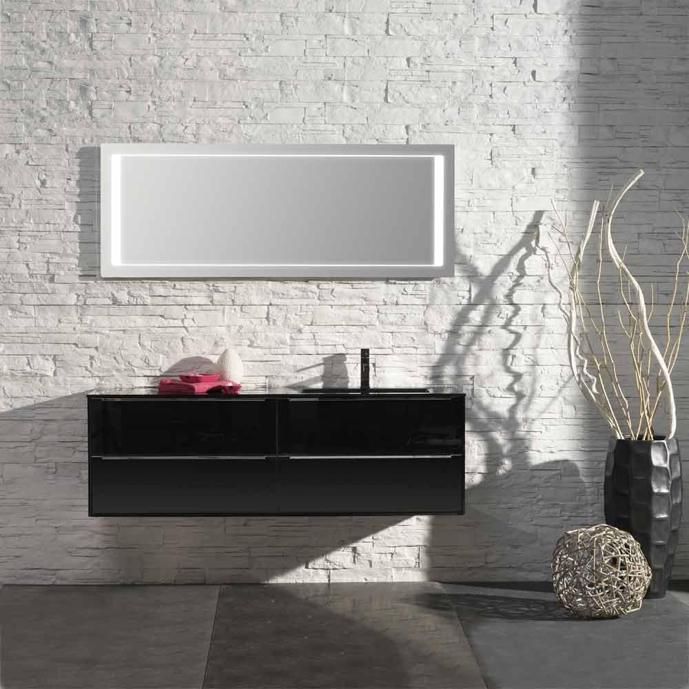 Waschplatz Sense 7 - schwarz Hochglanz mit Glasbecken rechts