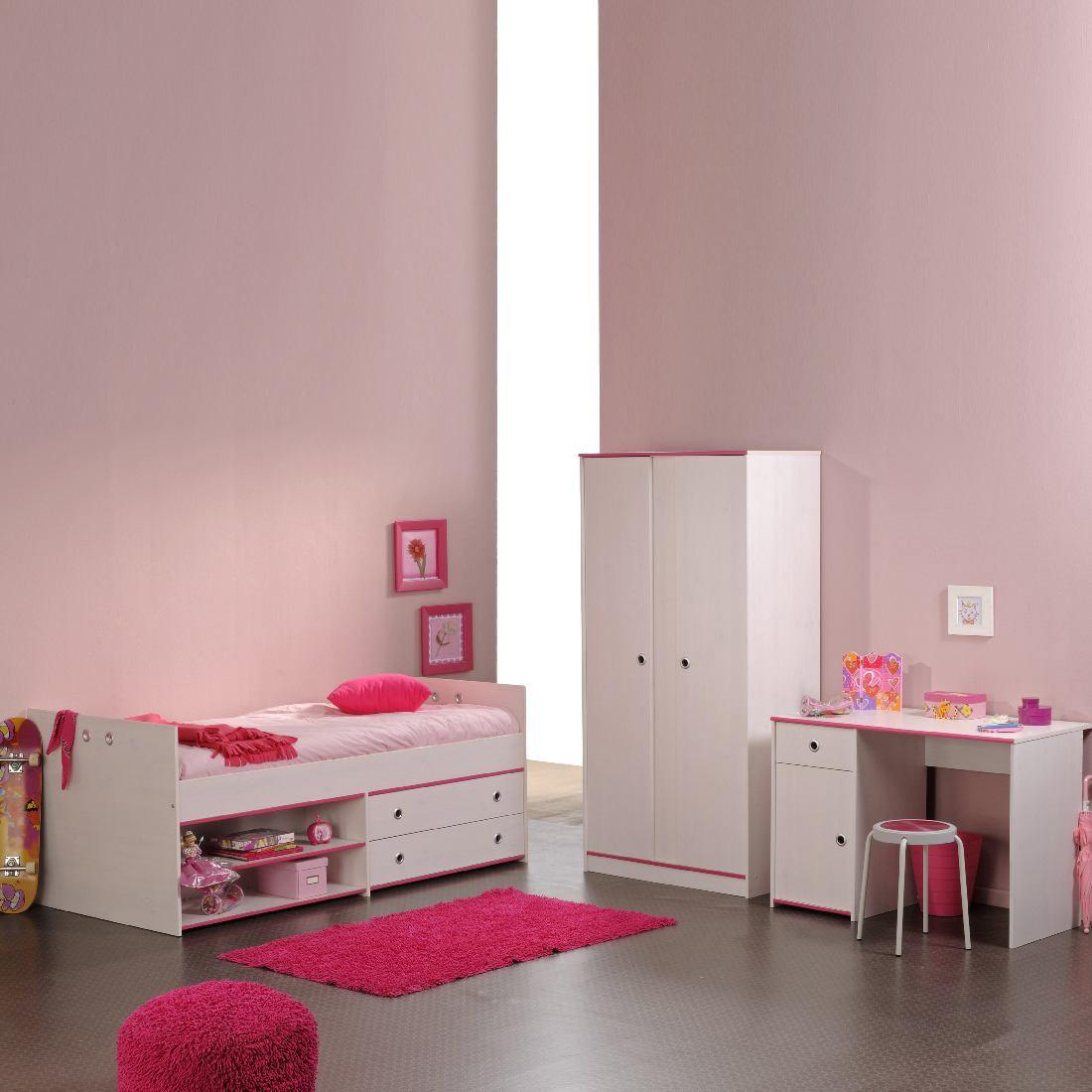 Smoozy Junior Set für Mädchen - 3-tlg. - Kleiderschrank, Stauraum-Bett & Schreibtisch - weiß mit rosa Kanten, Parisot Meubles