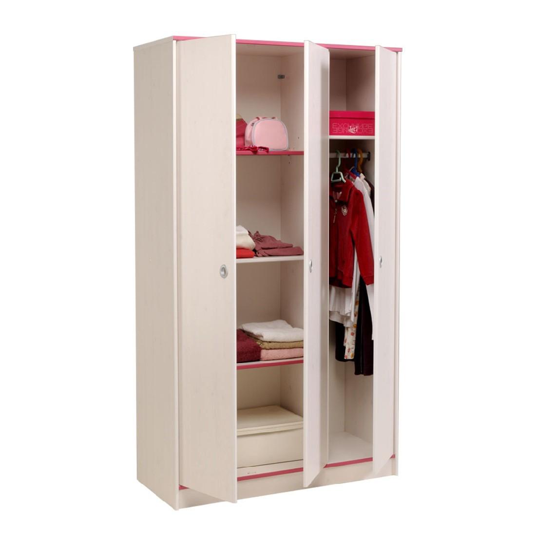 Kleiderschrank Smoozy (Rosa oder Blau) – Drehbare Kanten – Weiß lackiert – 2-türig, Parisot Meubles bestellen
