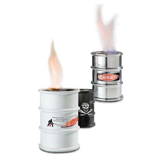 Barrel Feuertonne – chrom, Danger, Sompex jetzt bestellen