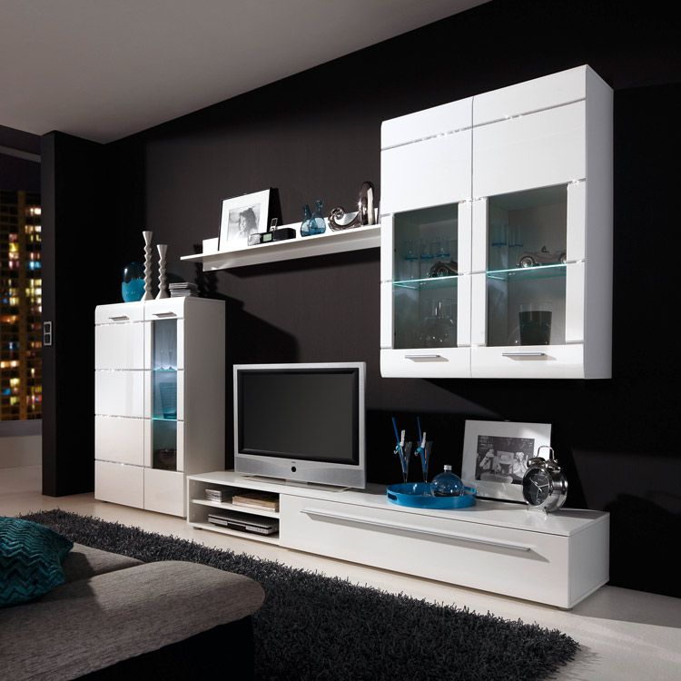 wohnwand star 4 teilig wei hochglanz inklusive. Black Bedroom Furniture Sets. Home Design Ideas