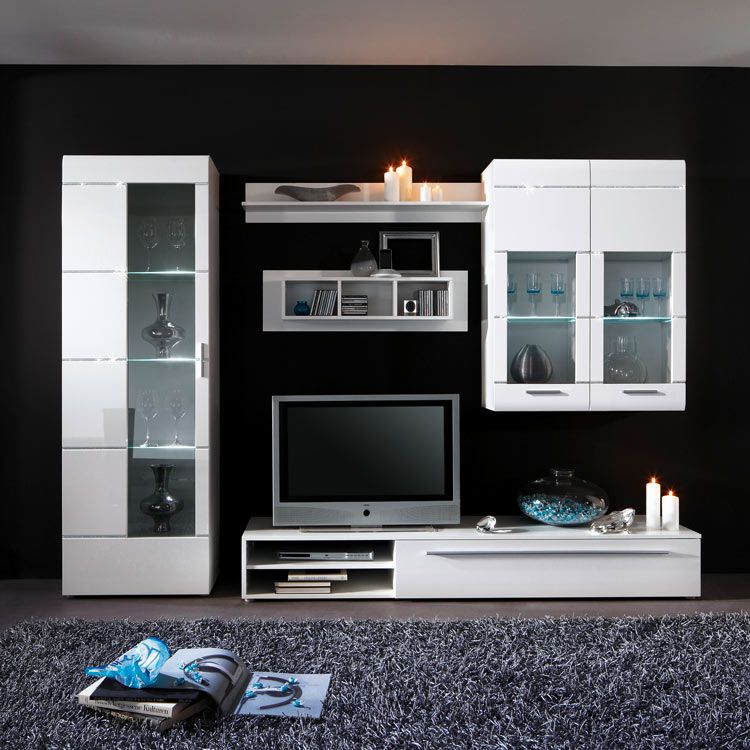 wohnwand star 5 teilig wei hochglanz. Black Bedroom Furniture Sets. Home Design Ideas