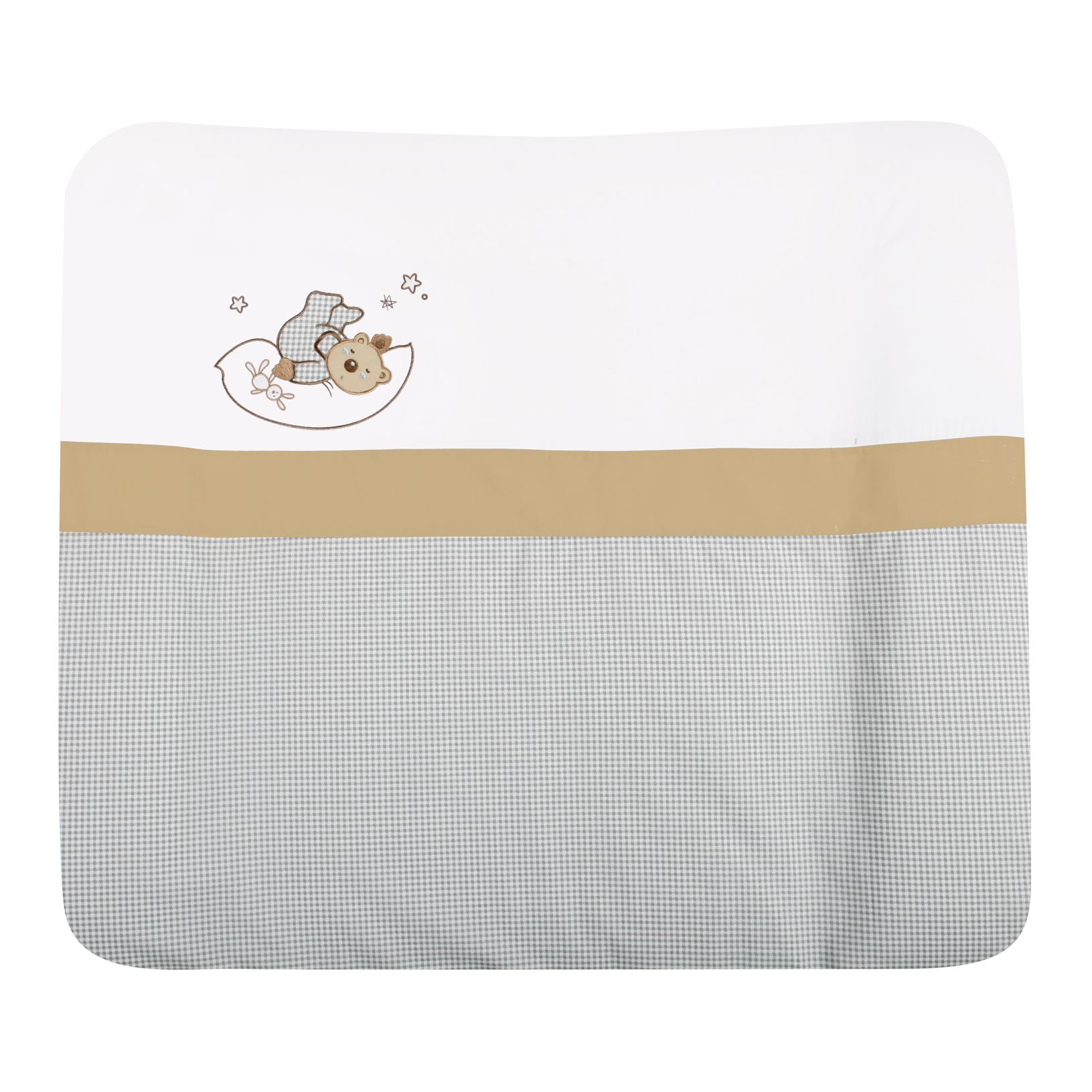 Wickelauflage Sternenbär - 100% Baumwolle - Weiß/Grau mit Bärchenapplikation
