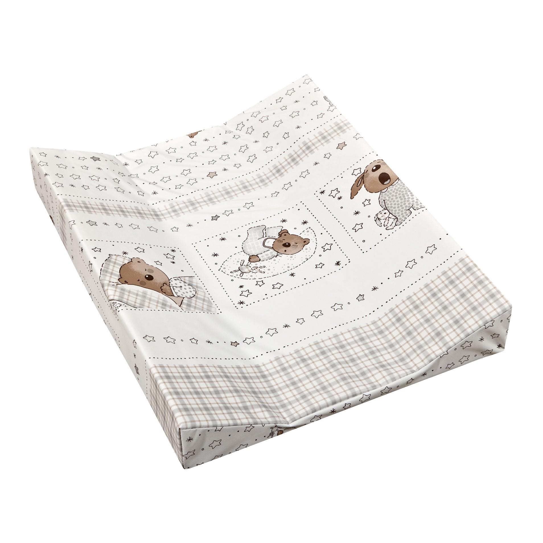 Wickelauflage Sweet Dreams - 2-Keil Mulde - Weiß mit Bärchenmotiven