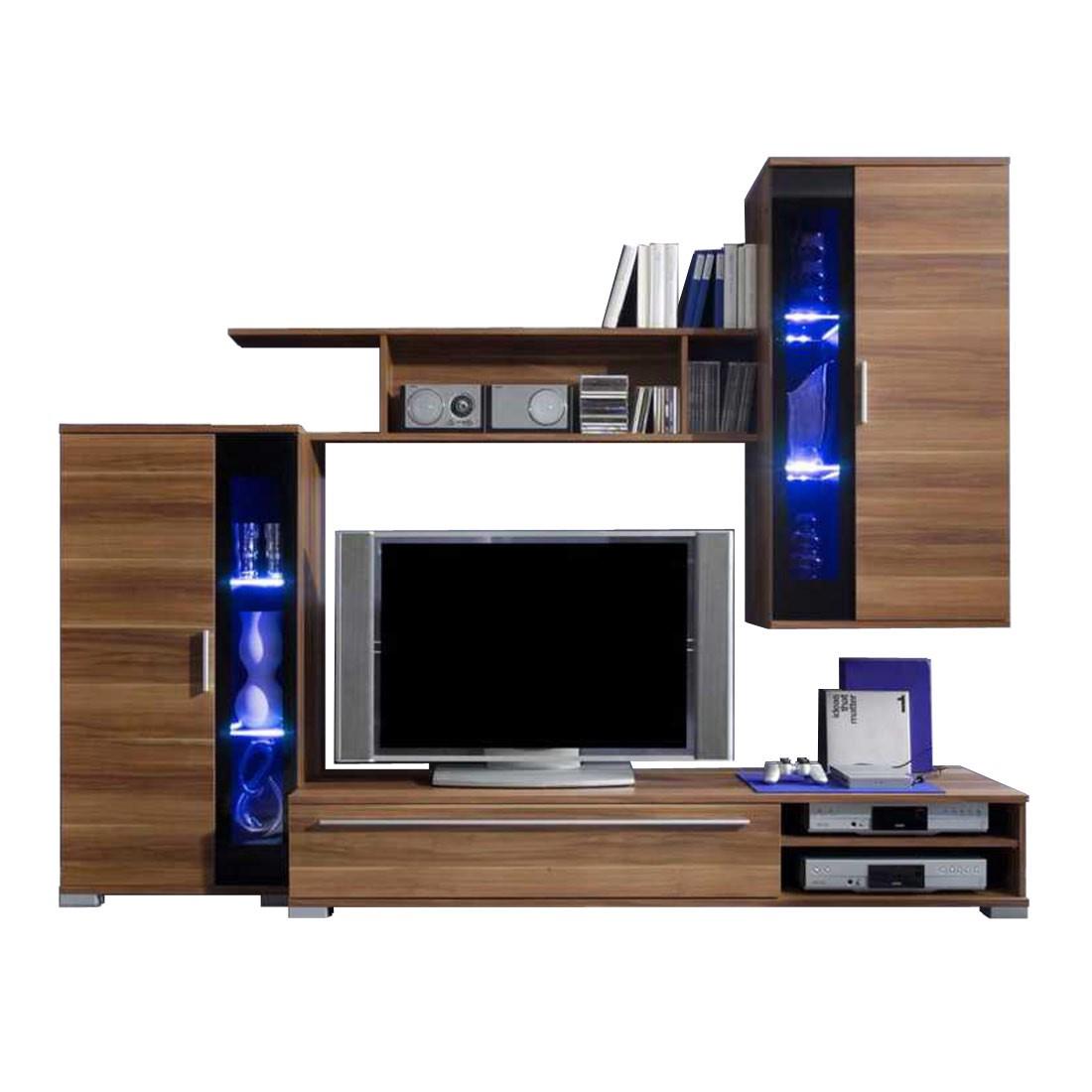 wohnwand swing 4 teilig kernnussbaum dekor wohnwand. Black Bedroom Furniture Sets. Home Design Ideas