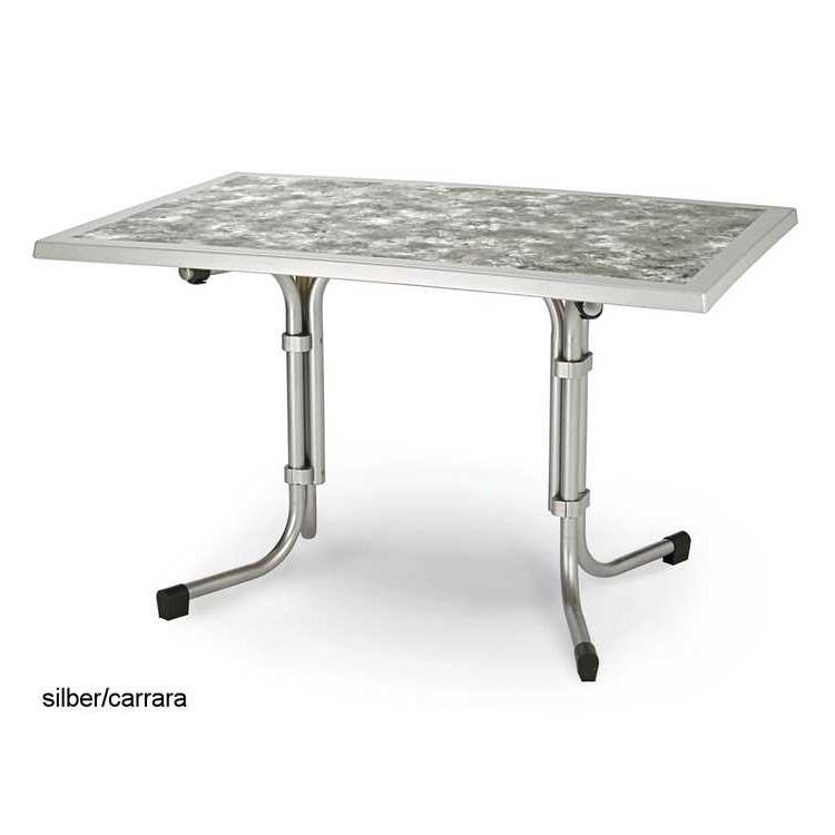 Tisch Sunset - (120 x 80 cm) - Stahl/Werzalit - Weiß/Marmoriert, Bellasol