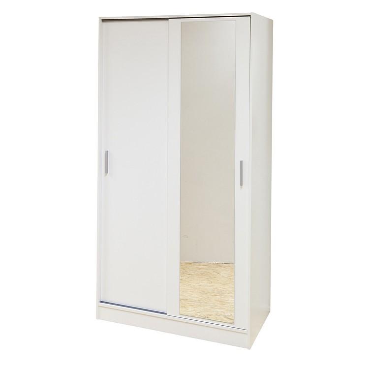 Kleiderschrank weiß mit spiegel  Kleiderschrank Target - Schiebetür 2-türig - Weiß/Spiegel ...