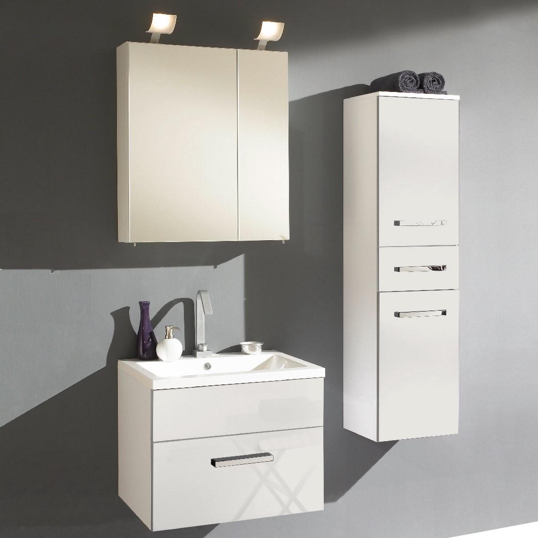 badezimmerset victoria 3 teilig inklusive waschbecken 60cm wei hochglanz. Black Bedroom Furniture Sets. Home Design Ideas