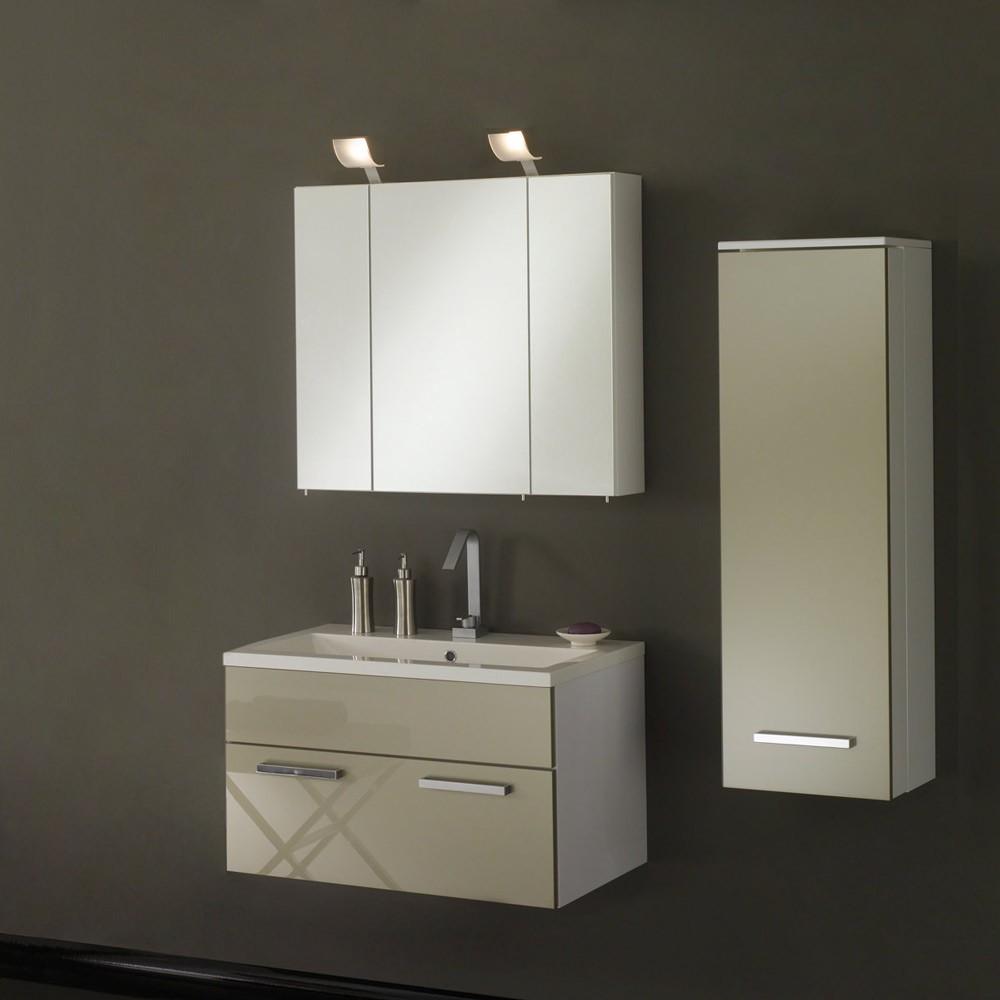 Badezimmerset Victoria (3-teilig) – inklusive Waschbecken 80cm – weiß/valentino Hochglanz, Aqua Suite günstig bestellen