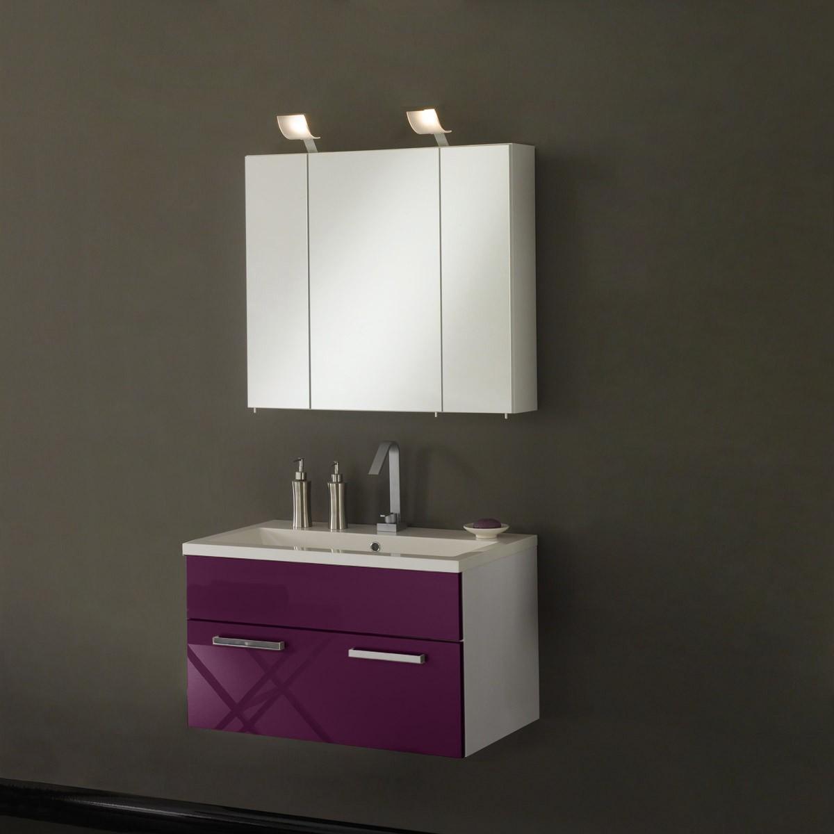 Waschplatz Victoria - inklusive Becken + Spiegelschrank 80cm - weiß/aubergine Hochglanz