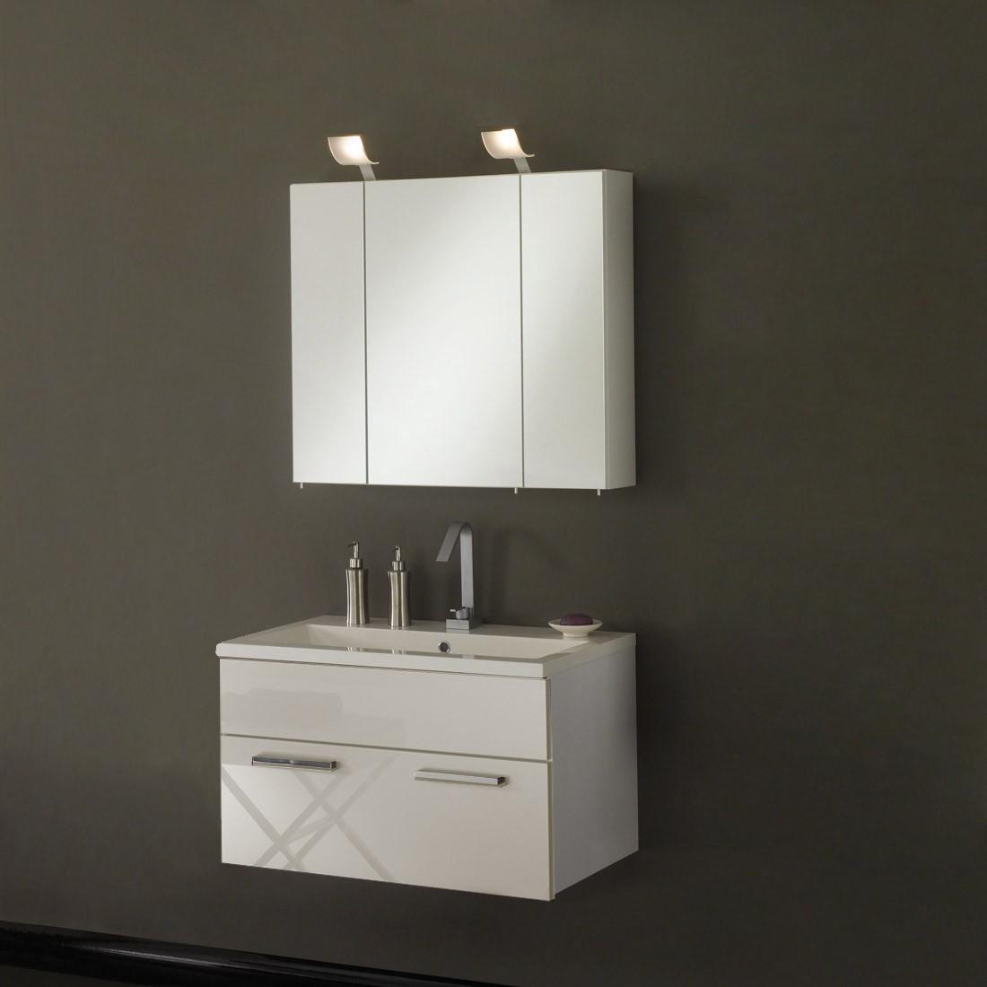 Waschplatz Victoria - inklusive Becken + Spiegelschrank 80cm - weiß Hochglanz