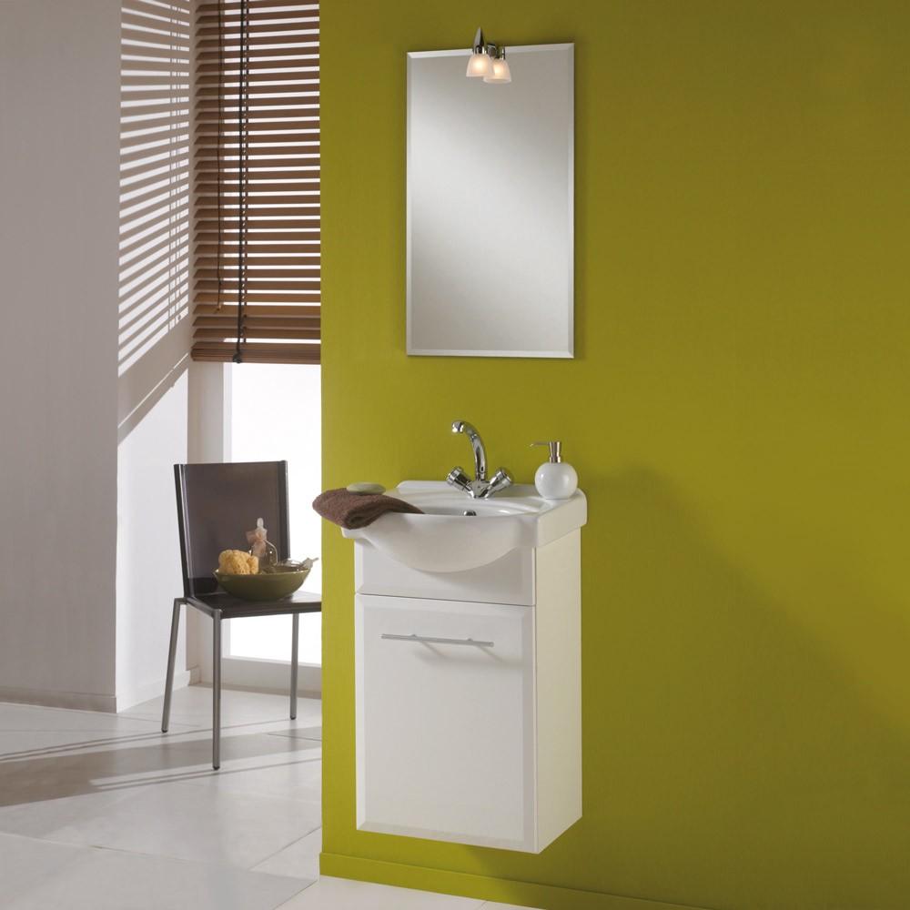 Waschplatz Windsor - mit Spiegel - weiß/weiß Hochglanz