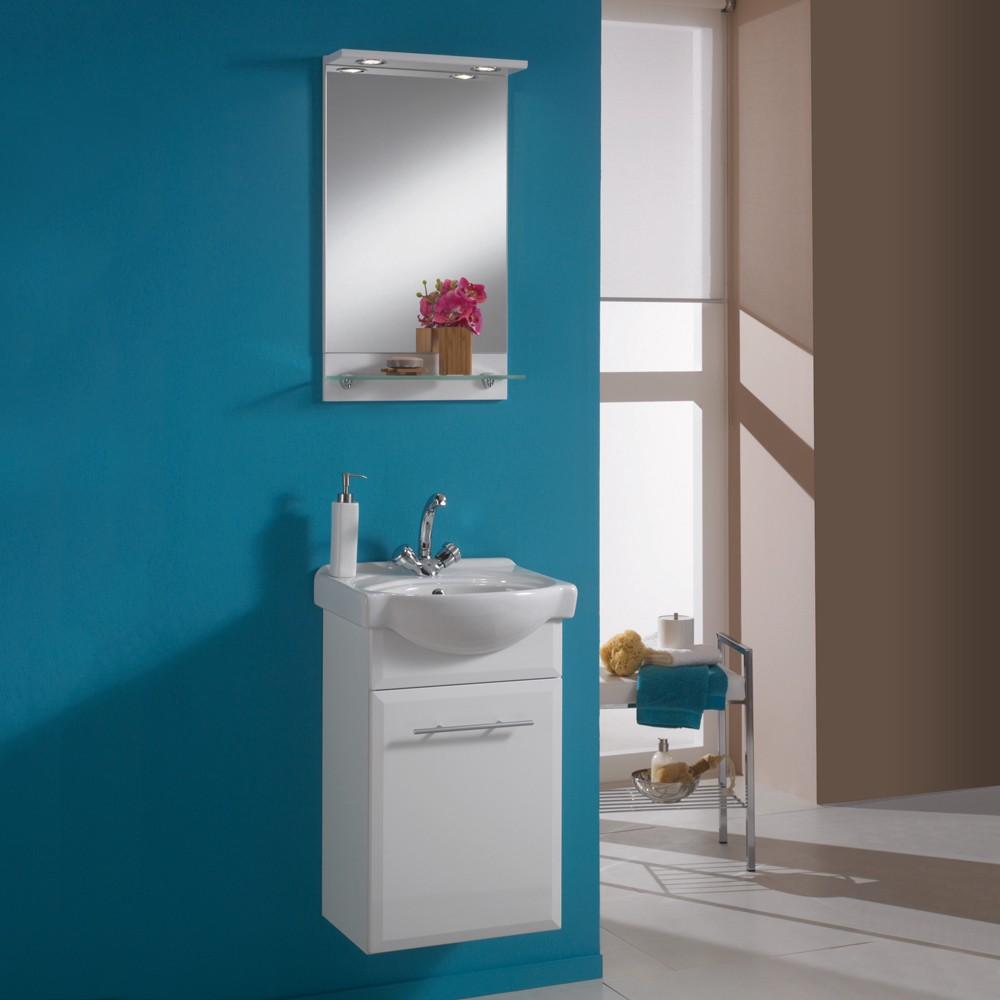 Waschplatz Windsor - mit Spiegelelement - weiß/weiß Hochglanz