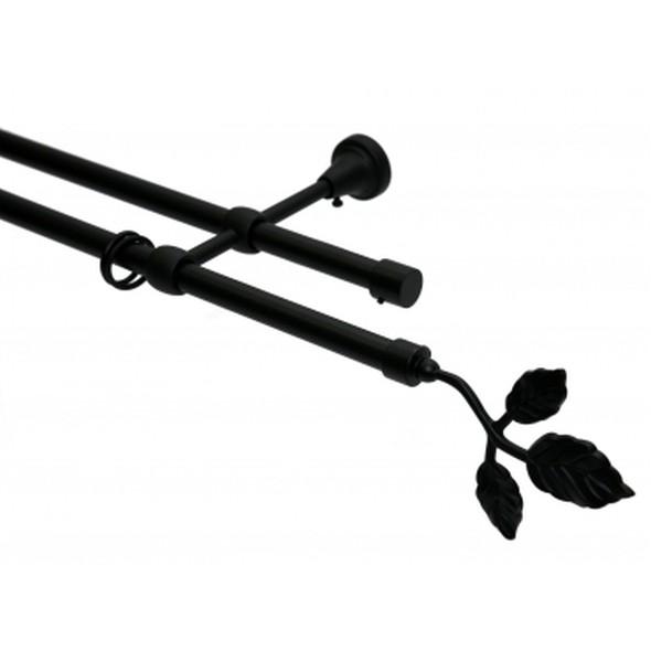 Gardinenstange 2-läufig 16mm Schwarz Endstück Blatt – 200cm, Home24Deko online kaufen