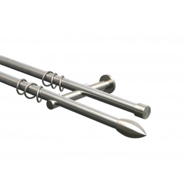Gardinenstange 2-läufig 20mm Edelstahloptik Endstück Patrone – 200cm, Home24Deko günstig