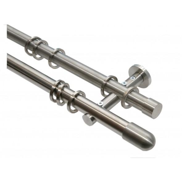 Gardinenstange 2-läufig 20mm Edelstahloptik Endstück Gerundet – 320cm (2x160cm), Home24Deko bestellen
