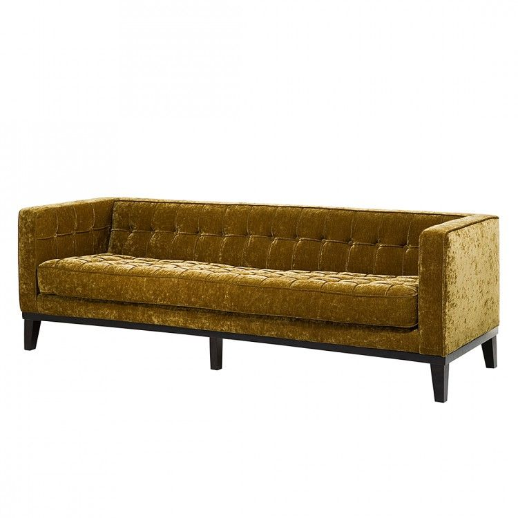 Sofa Mirage (3-Sitzer) - Gelbgolde Samtoptik, Kare Design