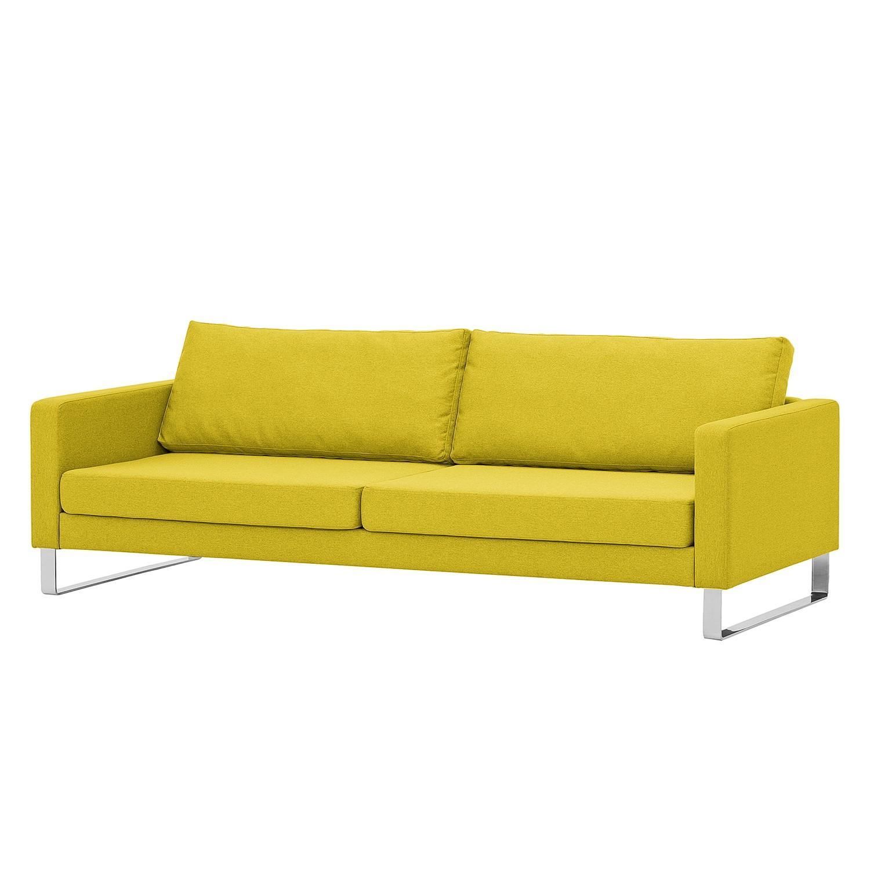 Sofa Portobello (3-Sitzer) - Webstoff - Kufen - Stoff Milan Gelb, Fredriks