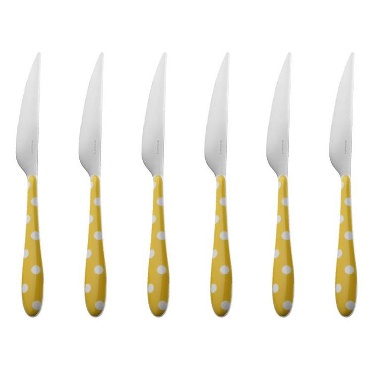 6er-Set Tafelmesser Pois – Edelstahl 18/10 Gelb, Bugatti jetzt bestellen