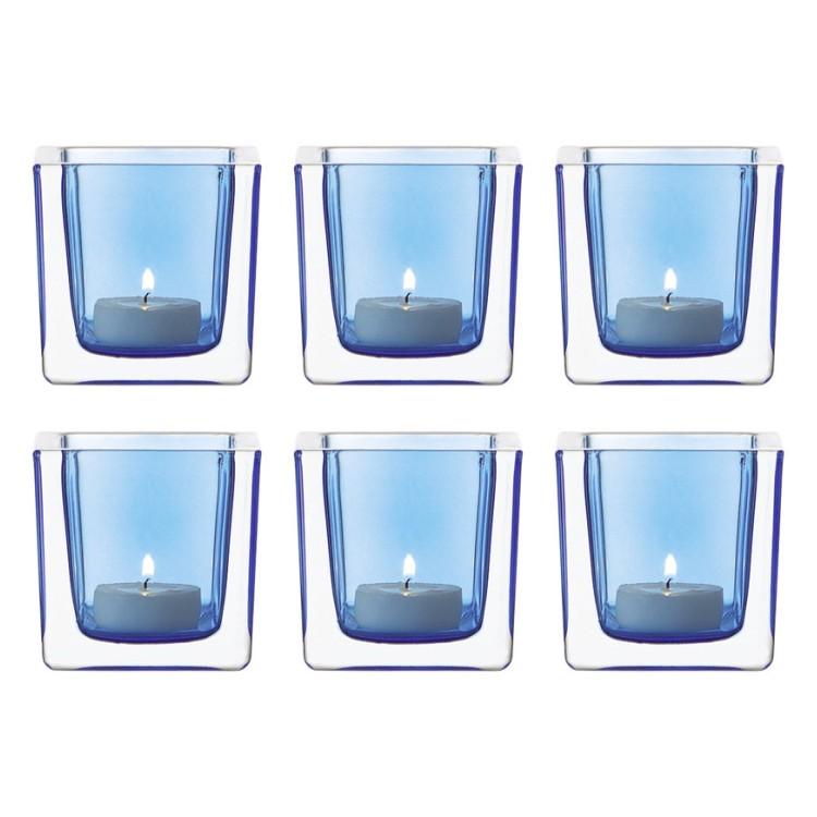 6er set tischlicht cube glas blau leonardo g nstig kaufen. Black Bedroom Furniture Sets. Home Design Ideas