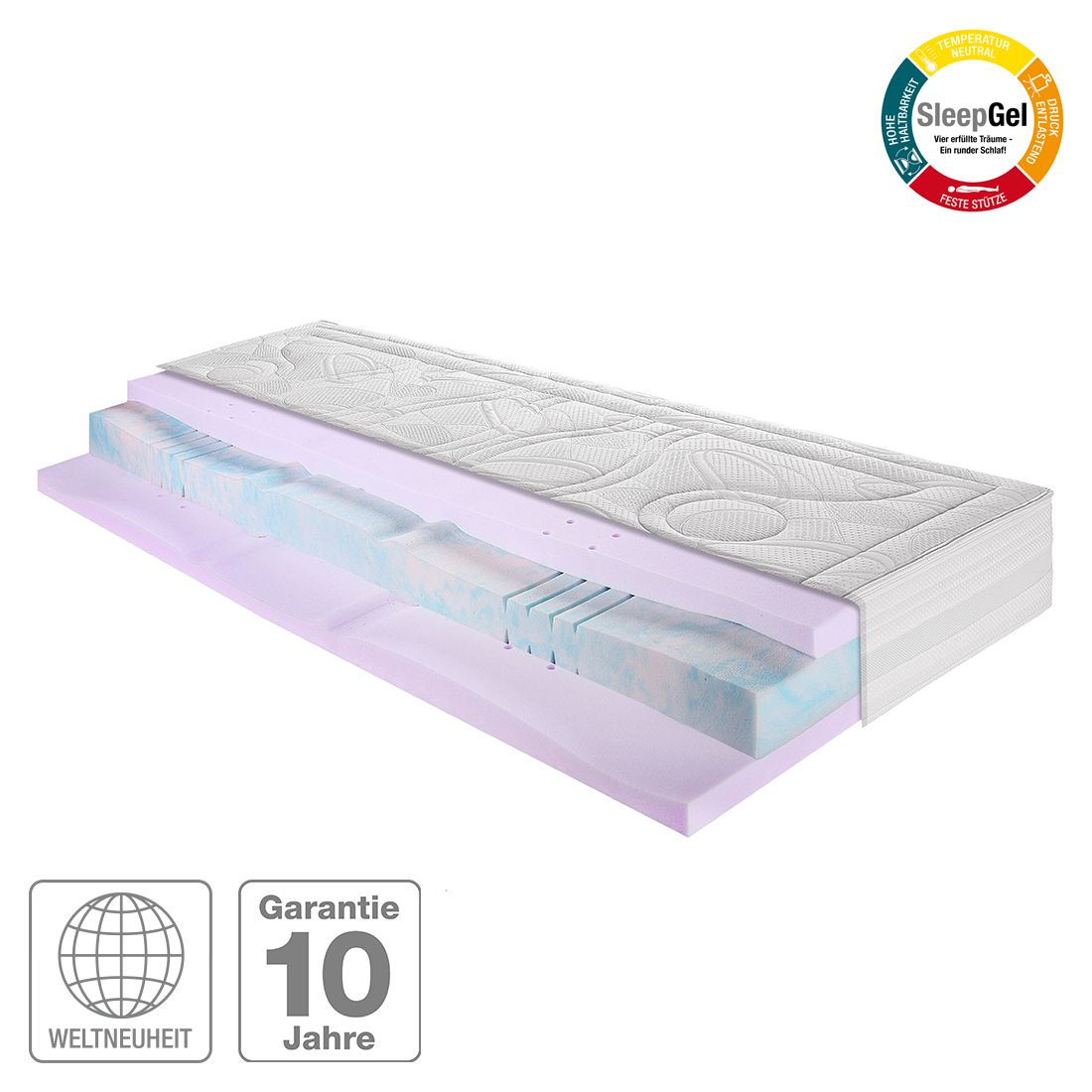 7-Zonen Bodyform-Kaltschaum Gel-Matratze Sleep Gel 5 – 160 x 200cm – H2 bis 80 kg, Breckle günstig