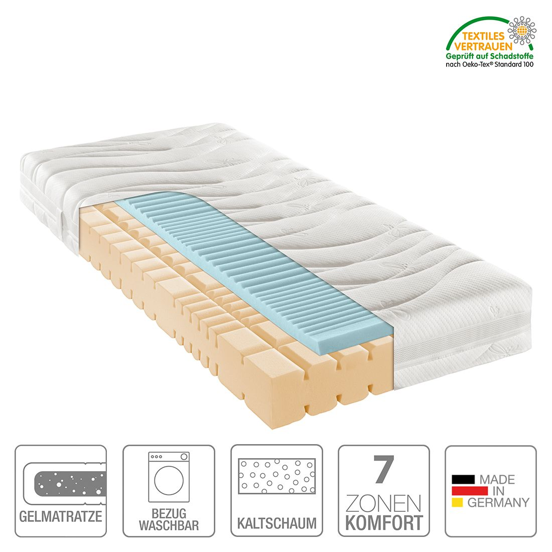 7-Zonen Kaltschaummatratze Nova Dream Gel Royal – 90 x 190cm – H3 ab 80 kg, Nova Dream Sleepline online kaufen