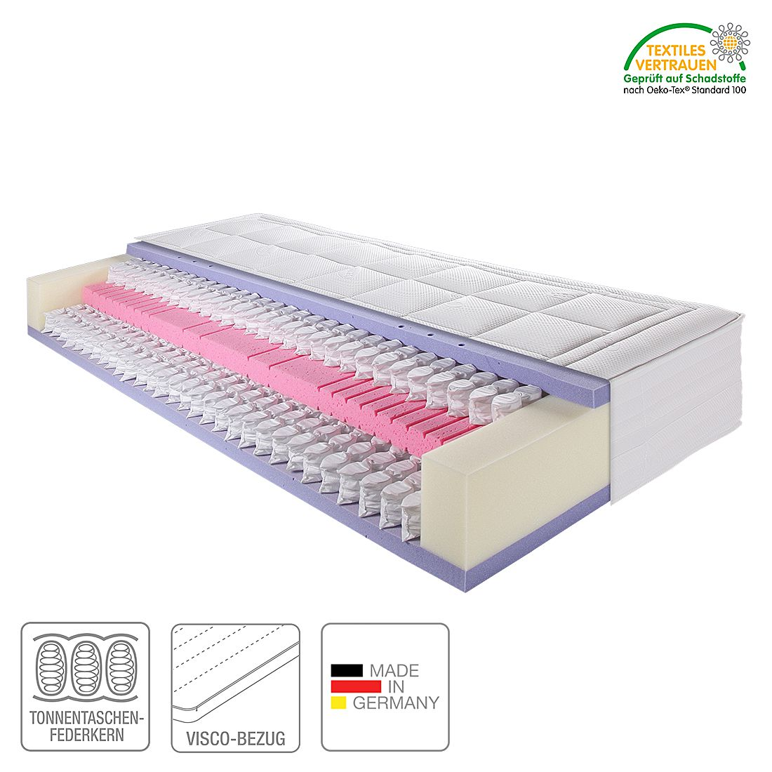 7 Zonen Komfortmatratze BigLine 3000 Gi – 120 x 200cm, Breckle günstig online kaufen