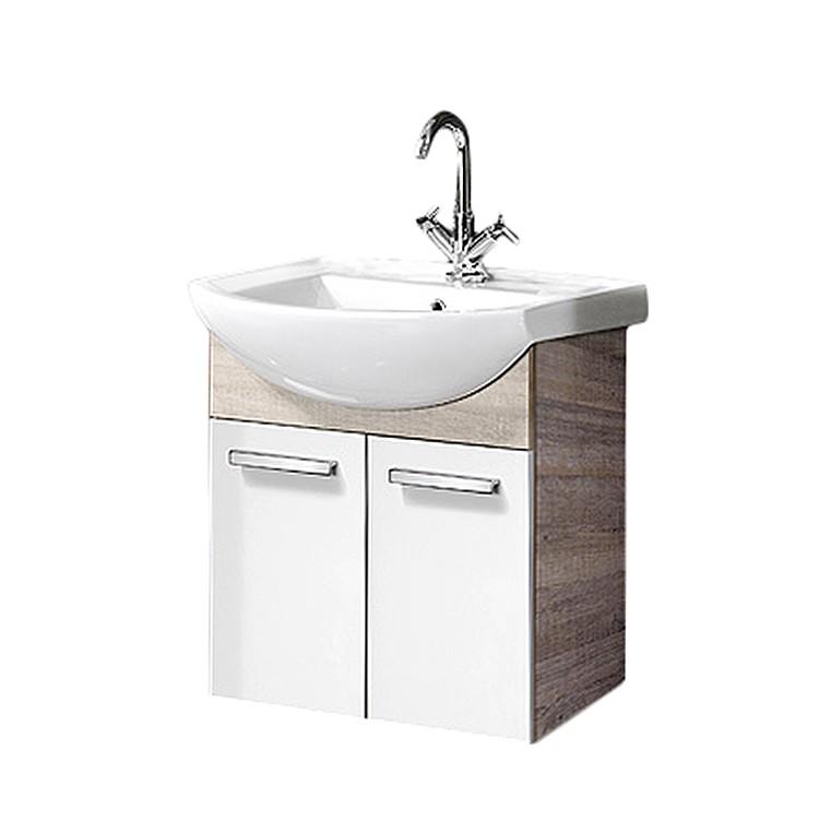 Waschbeckenunterschrank A-Vero – Eiche Sonoma/Weiß Hochglanz, Fackelmann online kaufen