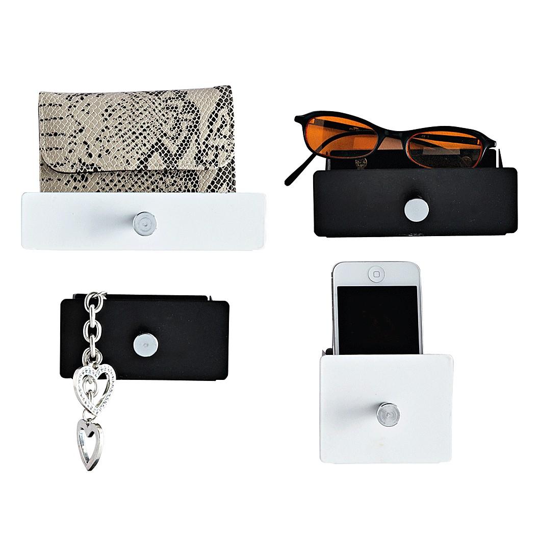 Ablage-Set (4-teilig) – Metall – Schwarz/Weiß, PureDay online kaufen