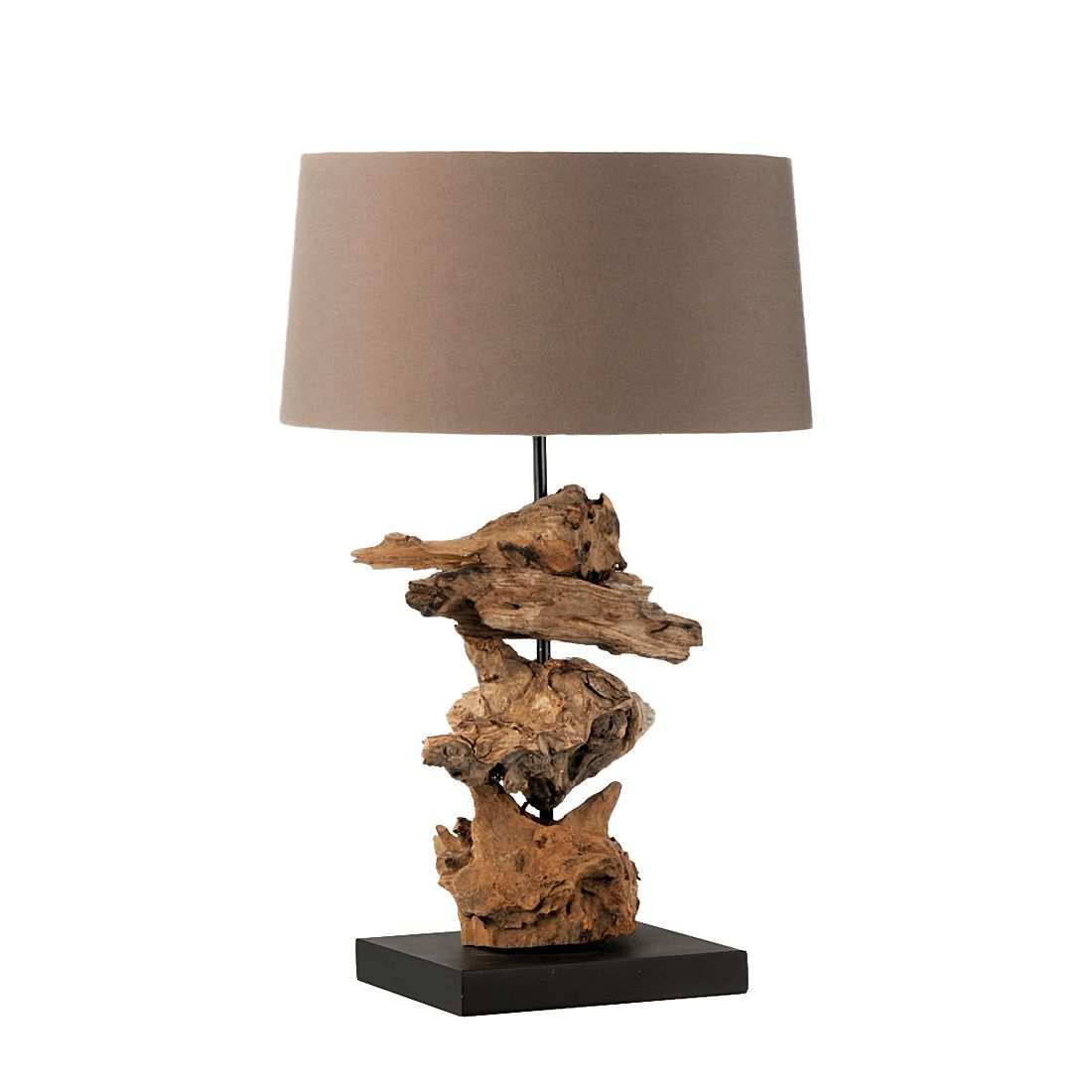 Tischleuchte Abuja im Naturholz-Look - Brauner Lampenschirm, Paul Neuhaus
