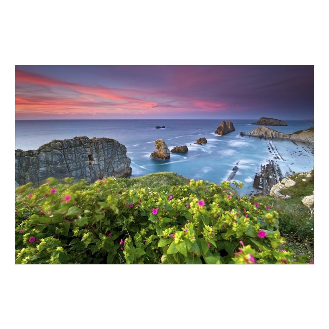 acrylglasbild blue coast in sunset abmessung 30x20 cm. Black Bedroom Furniture Sets. Home Design Ideas