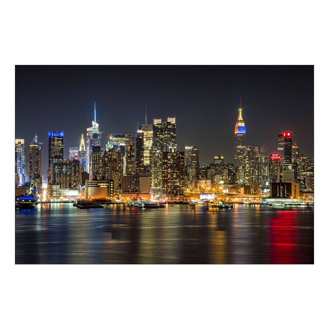 Acrylglasbild New York Skyline at Nigh – Abmessung 75×50 cm, Gallery of Innovative Art günstig online kaufen